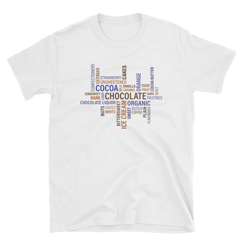 A white t-shirt with chocolate and cocoa written on it in many different ways.