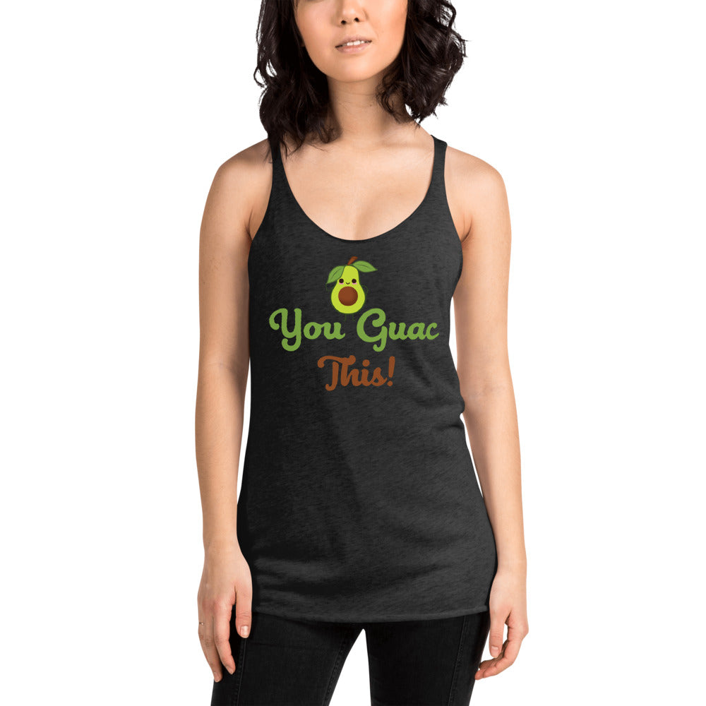"A black tank top with a cute avocado character saying ""You guac this!"""
