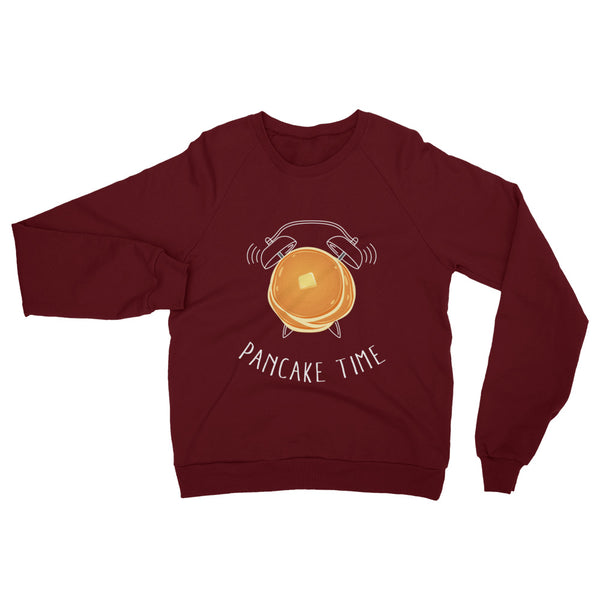 A comfy truffle red sweatshirt with a pancake graphic on the chest.