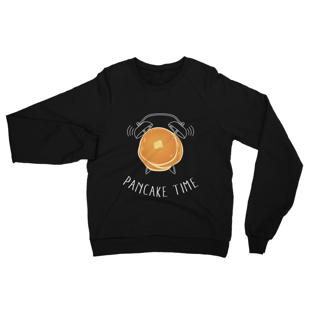 A comfy black sweatshirt with a pancake graphic on the chest.