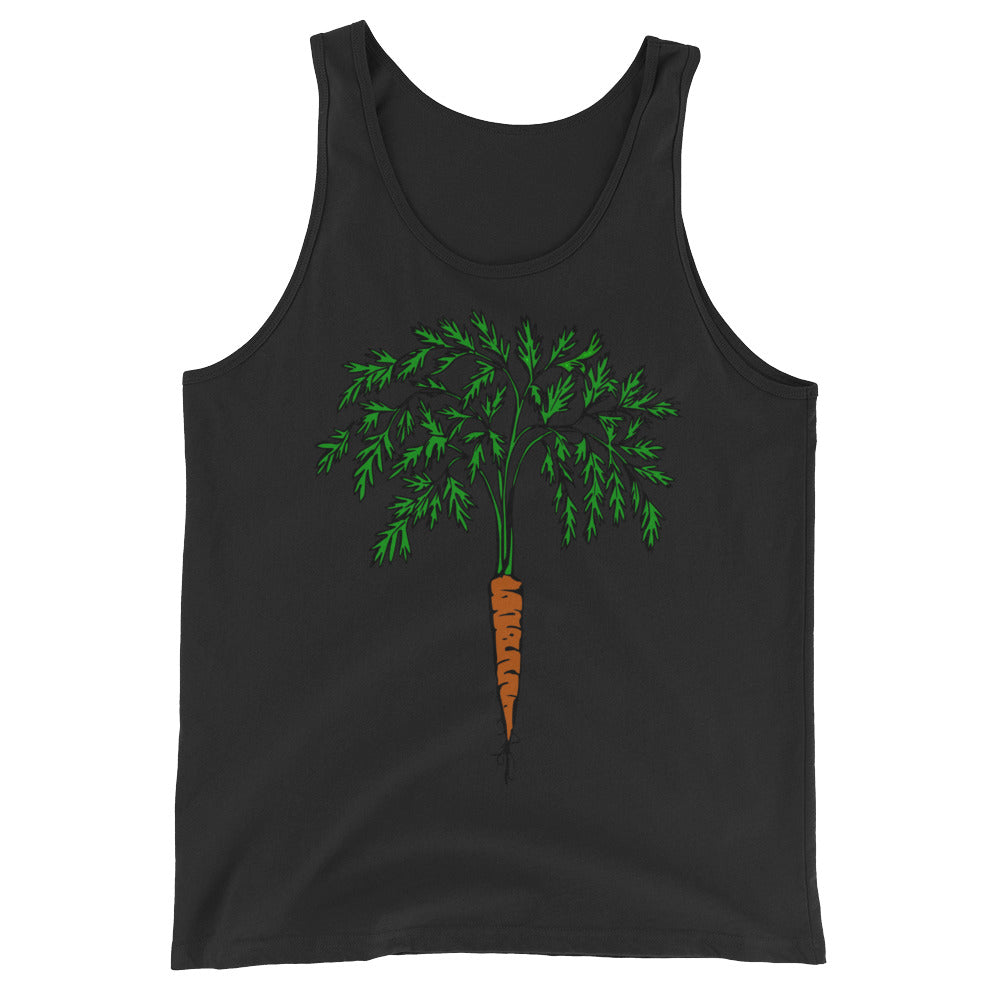 A black coloured unisex tank top with an illustration of a carrot on the centre.