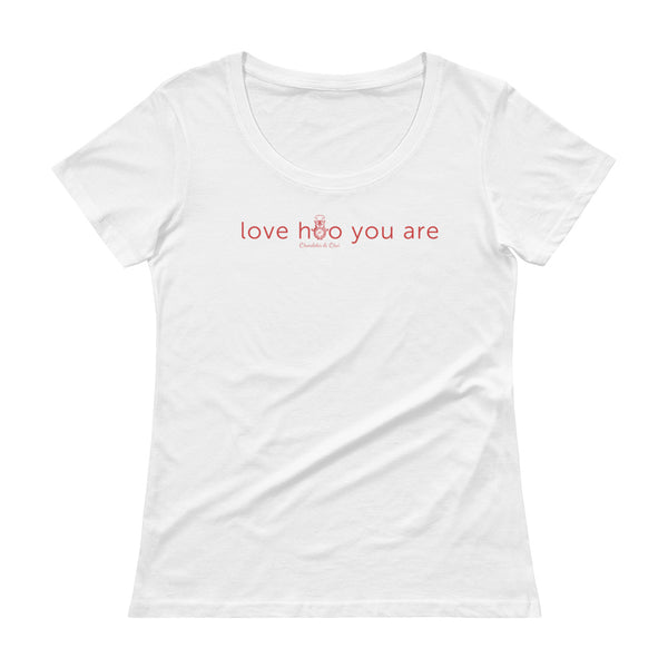 "A white scoopneck t-shirt with ""love hoo you are"" written across the chest. The second 'O' in 'hoo' is depicted using the round belly of Hootie the owl."