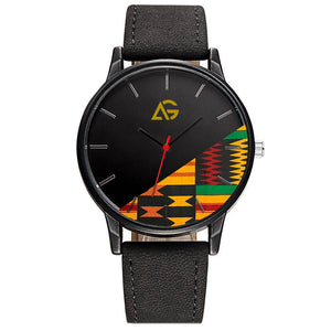 Unisex Black Leather Band Watch