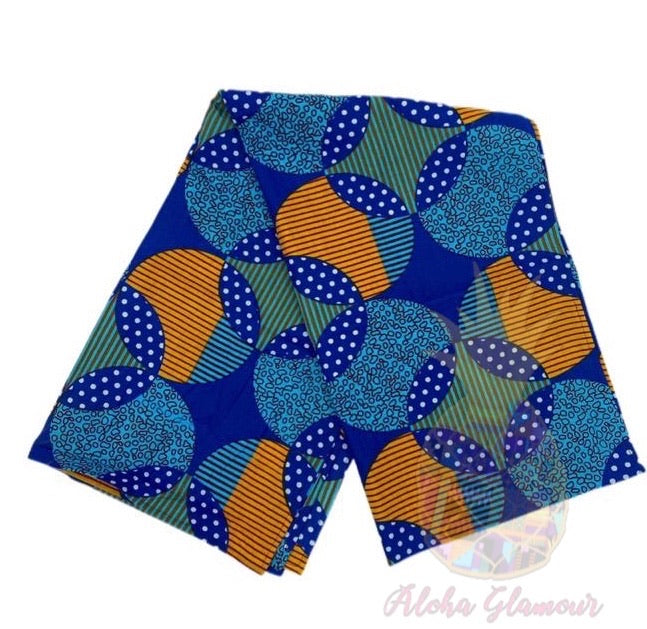 Blue and Orange Circles Large Headwrap