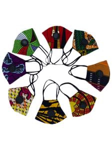 Afrocentric Print Fashion Face Mask with respirator  (Random Prints)