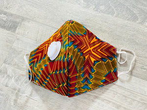 5 Afrocentric Print Fashion Face Mask with respirator (Random Prints)