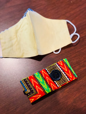 Cream Dashiki headband and mask set