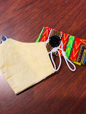 Cream Dashiki headband and mask set*