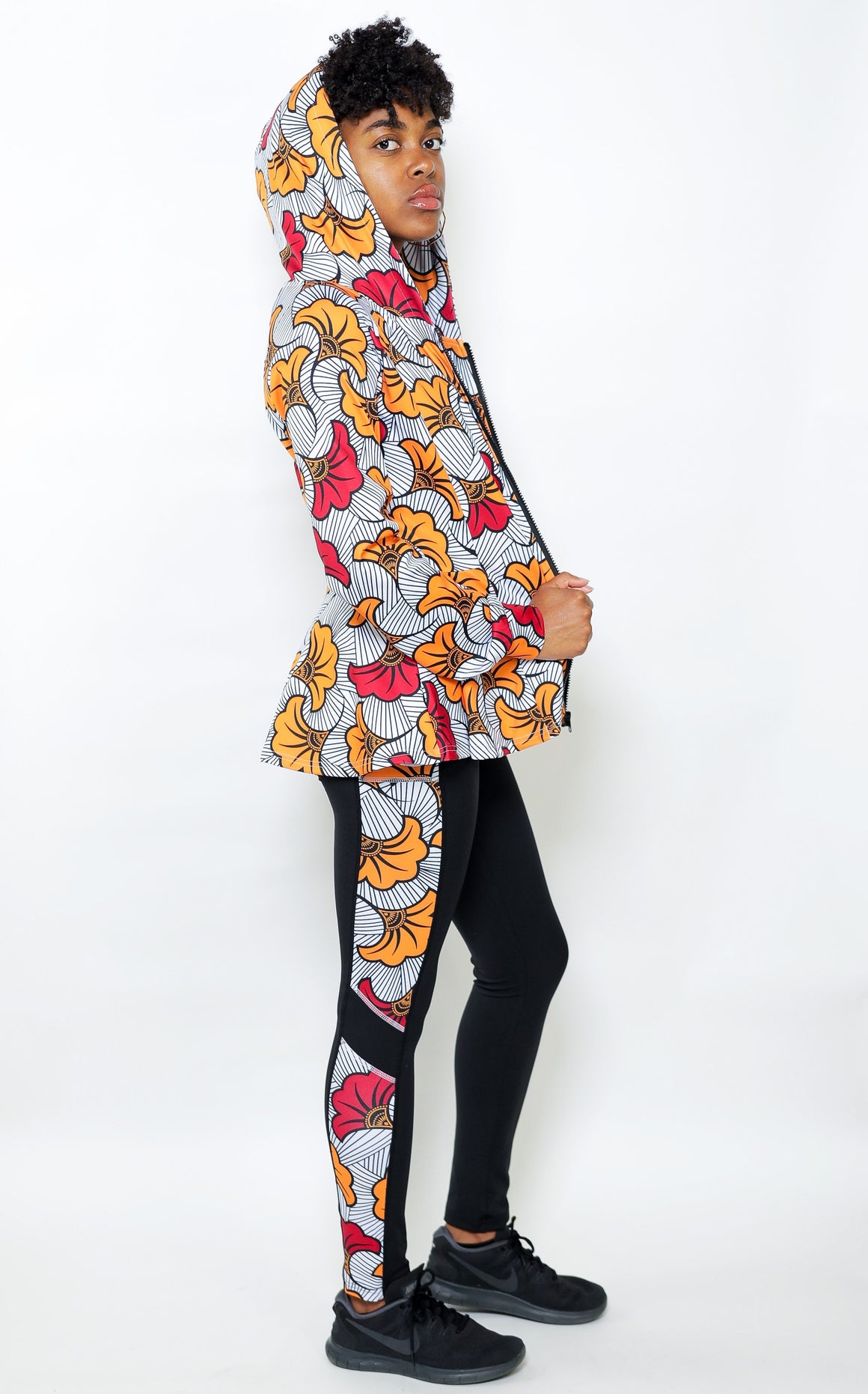 Yellow And Red Flower Leggings