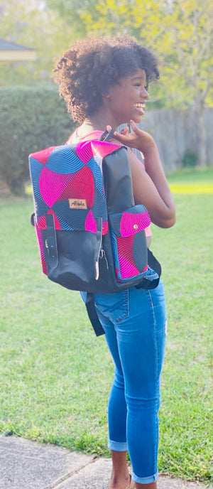 Pink Denim Laptop Book Bag