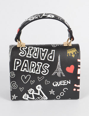Graffiti Clutch Purse with Chain