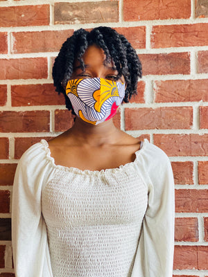 Afrocentric Print Fashion Face Mask with pouch (Random Prints)