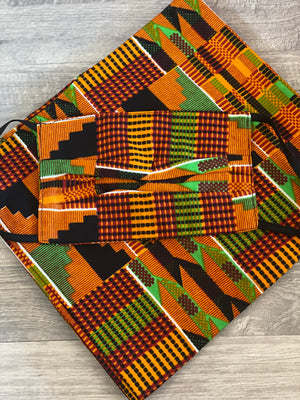 Kente Love Flower Head wrap and mask set