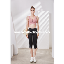 Load image into Gallery viewer, Exercise Pants High Rise Crop With Asymmetrical Side Panels.
