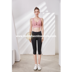 Exercise Pants High Rise Crop With Asymmetrical Side Panels.