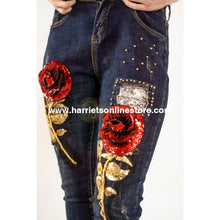 Load image into Gallery viewer, Jeans 3D Rose Sequin (Dark Wash)