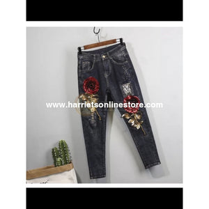 Jeans 3D Rose Sequin (Dark Wash)