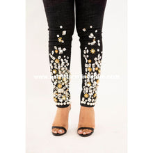 Load image into Gallery viewer, Jeans Black Crystal & Pearl Embelished