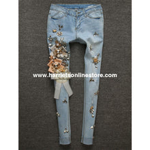 Load image into Gallery viewer, Jeans Crystal & Brooch Embellished (Blue Jeans)