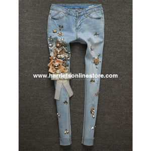 Jeans Crystal & Brooch Embellished (Blue Jeans)