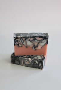 Pink Granite handcrafted, natural soap. Rose clay soap with white kaolin clay swirls + activated charcoal swirls. Unscented.