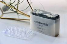 Load image into Gallery viewer, Summit soap by Ishtahfeetah soapery. Dark grey and green swirled natural soap.