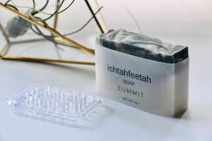 Summit soap by Ishtahfeetah soapery. Dark grey and green swirled natural soap.
