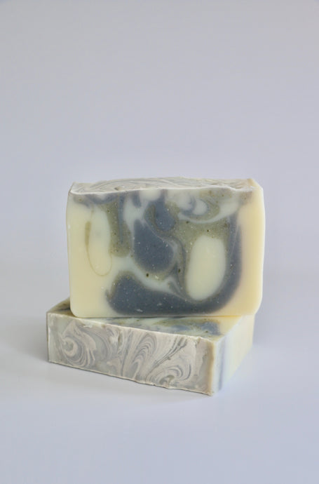 Nordic handcrafted natural soap - swirls of blue indigo and French green clay.