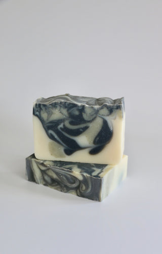 Nordic handcrafted, natural soap. Swirls of dark grey activated charcoal & French green clay.