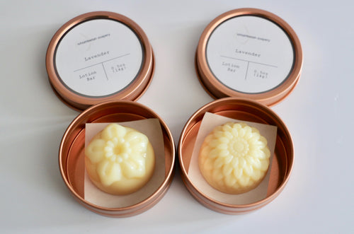 Mini lotion bars + reusable rose gold tin. Ishtahfeetah Soapery.