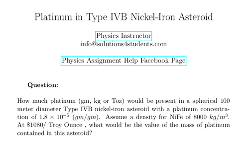 Platinum in Type IVB Nickel-Iron Asteroid