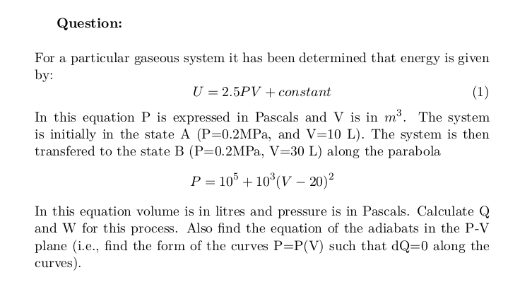 Transition of a Gaseous System Through a Parabola