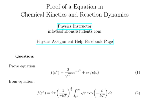 Proof of a Equation in Chemical Kinetics and Reaction Dynamics
