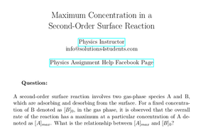 Maximum Concentration in a Second-Order Surface Reaction
