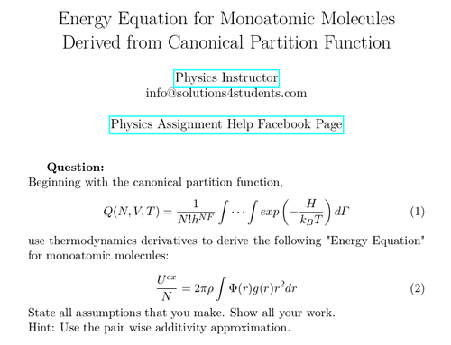 Energy Equation for Monoatomic Molecules Derived from Canonical Partition Function