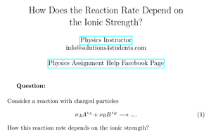 How Does the Reaction Rate Depend on the Ionic Strength?