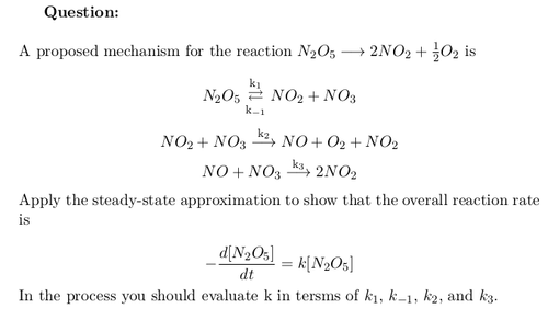Overall Reaction Rate using Steady-State Approximation