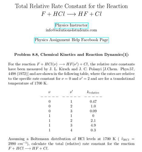 Total Relative Rate Constant for the Reaction F + HCl → HF + Cl