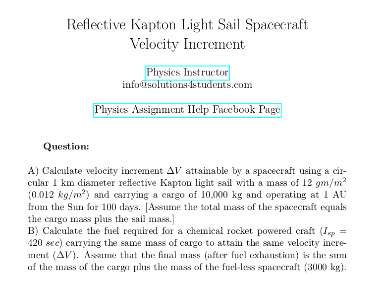 Reflective Kapton Light Sail Spacecraft Velocity Increment