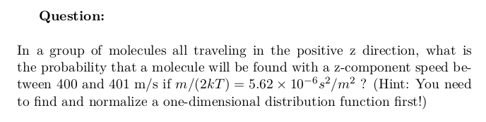 Probability of the Speed of a Molecule in a Group of Traveling Molecules