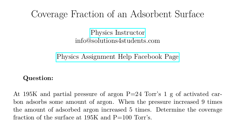 Coverage Fraction of an Adsorbent Surface