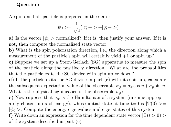 Spin One-Half Particle Polarisation Direction