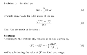 Canonical Ensemble: Variance in Energy