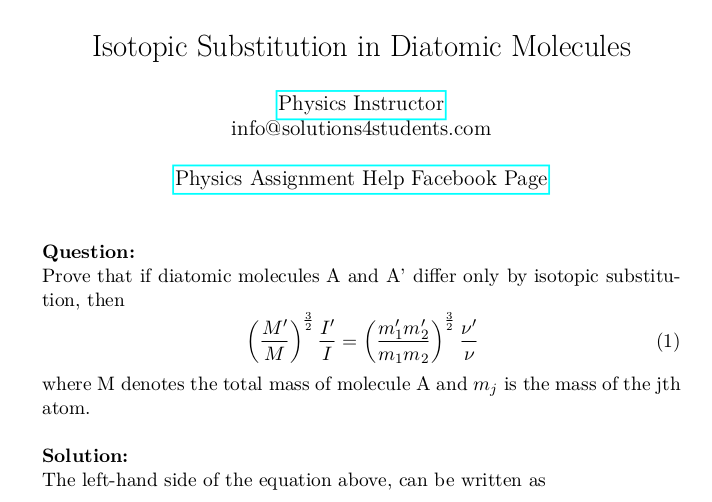 Isotopic Substitution in Diatomic Molecules