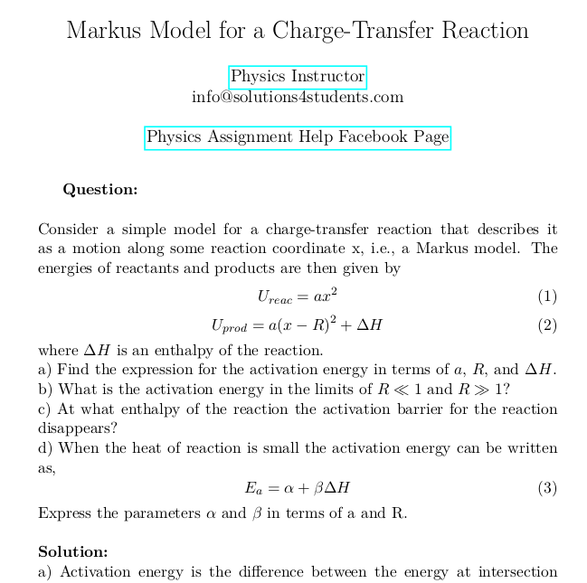 Markus Model for a Charge-Transfer Reaction