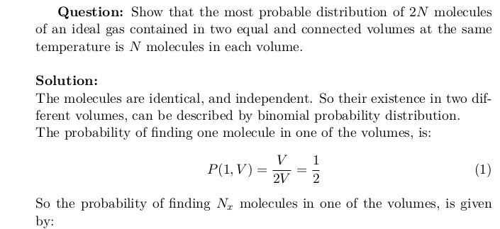 The Most Probable Distribution of Ideal Gas Molecules in Two Equal Volumes