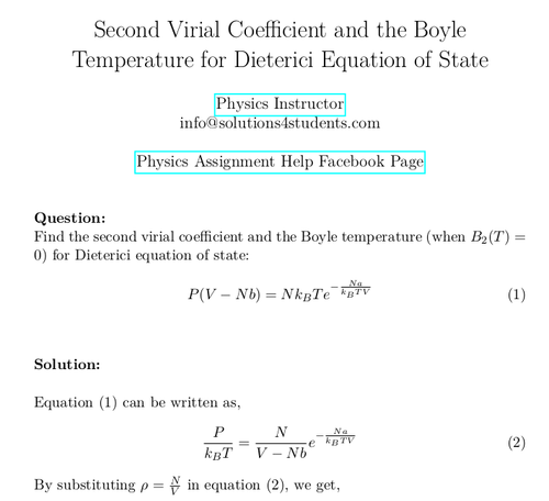 Second Virial Coefficient and the Boyle Temperature for Dieterici Equation of State