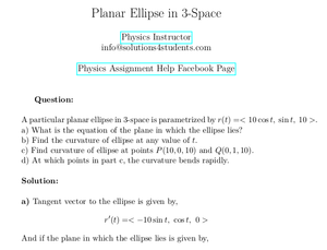 Planar Ellipse in 3-Space