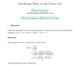 Osculating Plane to the Curve r(t)