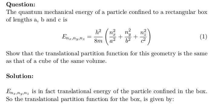 Translational Partition Function of a Particle Confined in a Box